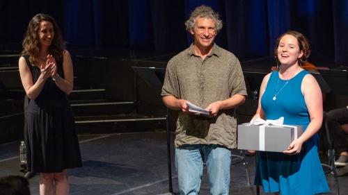 Dan Rockmore presenting an award to Jessica Andrewartha.