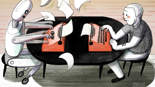 an illustration of a robot and a person sitting at a table, both working on typewriters