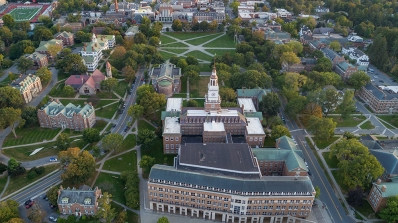 Aerial photo of Baker-Berry Library and Dartmouth Green.