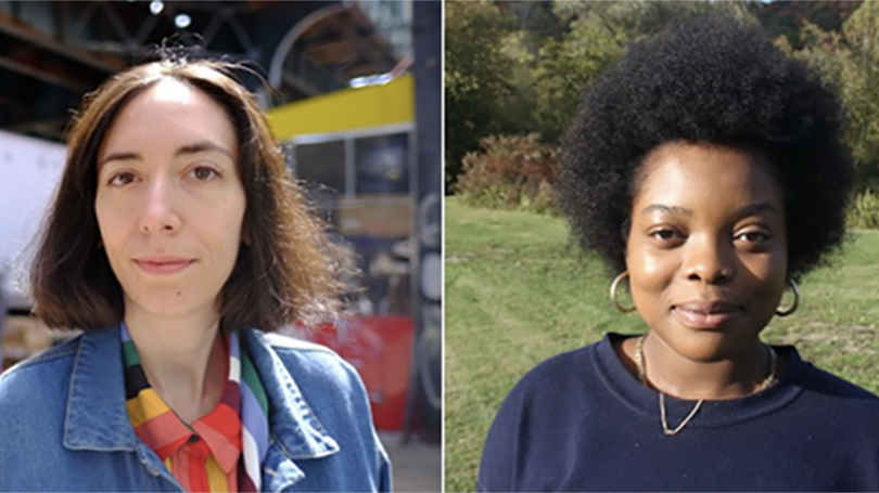 Playwrights Gina Femia (l) and Nkenna Akunna (r) took honors in the 2021 Neukom Institute Literary Arts Awards for playwriting. (Photos by: Kristin Licciardo; Seayoung Yim.)